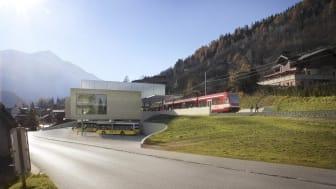 Visualisierung des neuen ÖV-Hub in Fiesch