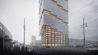EDGE East Side: Der rd. 140 Meter hohe Büroturm entsteht an der Warschauer Brücke im Berliner Bezirk Friedrichshain-Kreuzberg (Copyright: bloomimages Berlin GmbH)