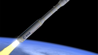 Artist's impression of the VEGA E. The RACS system is visible as small triangles on either side of the top half of the upper stage. Photo: ESA