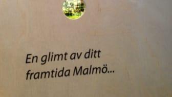 Detaljbild från utställningen Spana in vårt framtida Malmö!