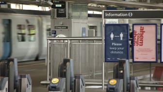 Measures to support social distancing have been put in place at stations - this is Blackfriars in central London