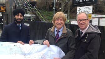 L-R  Harpreet Singh-Moore (Network Rail), Michael Fabricant MP & Richard Brooks (West Midlands Railway)