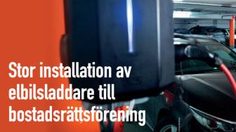 Stor installation av elbilsladdare till bostadsrättsförening