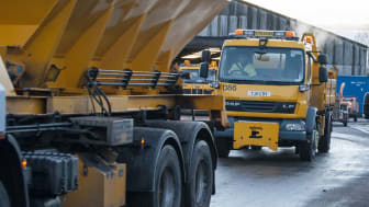 Gritting trucks leaving Ashgrove depot