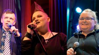 Tre av finalisterna: Sebastian, Elin och Jessica.