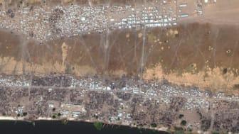 Satellitbilder efter det att Wau Shilluk brändes ner i mars  2017. (c) DigitalGlobe 2017, NextView License