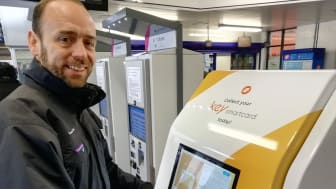 Touch-screen smart travel: Thameslink Managing Director Tom Moran tries out the new self-service Key smartcard kiosk