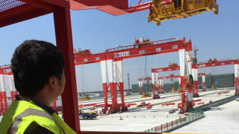 Under control: an operator controls STS cranes from a safe distance at the Port of Yanhshan, China.