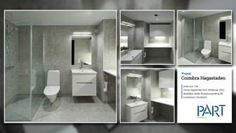 Part levererar 136 badrum till projektet Coimbra Hagastaden i Stockholm.