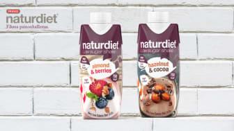 Naturdiet uutuudet – Naturdiet Shake Manteli-Marja ja Naturdiet Shake Hasselpähkinä-Kaakao juomat