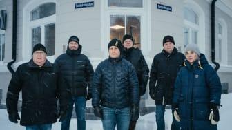 Fv Karl-Erik Perä, Magnus Näsvall, Mats Andersson, delägare Bothnia VVS; Berndt Hortlund, Sektionschef Norconsult; Greger Sandberg, delägare Bothnia VVS  och Maria Åberg, marknadsansvarig norr Norconsult