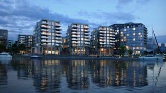 Verket Brygge med boliger og hotell til høyre i bilde. illustrasjon: Eve images