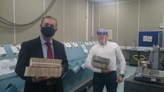 Post Office Supply Chain Director Russell Hancock with TV presenter Dominic Littlewood
