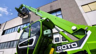 Nya R40.18S har det minsta chassiet i Merlos ROTO-serie. Modellen har en maximal lyftkapacitet på 4 000 kg och maximal lyfthöjd på 18 m.
