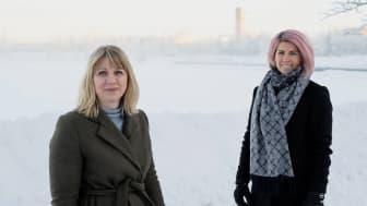 Erika Mattsson, Sparbanken Nord och Camilla Sehlin, NyföretagarCentrum Nord ser fram emot det utökade samarbetet, och vad det innebär för blivande företagare i länet.