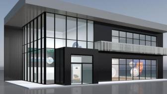 Der Messeauftritt DOYMAs zur Virtour ist von Außen dem neuen Firmensitz des Unternehmens nachempfunden