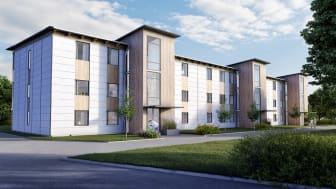 I Vårgårda finansierar gröna lån ombyggnation av 172 lägenheter till att bli självförsörjande på energi tack vare solceller, vätgas och batterier.