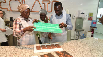 Cocoa farmers from Mondelez International's Cocoa Life programme in Ghana try their hand at turning their own product into delicious Cadbury chocolate at the iconic Bournville factory as part of a four day visit to the UK.