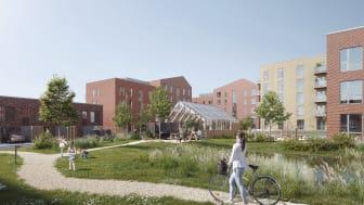 Cikoriehavens grønne gårdrum får fælleshus, udekøkken og legeplads. Visualisering: TNT Arkitekter/NOR3D