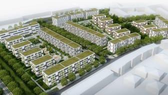 """Bis Ende 2021 errichtet ZÜBLIN 18 Gebäude im Rahmen des Projekts die """"Sonnenhöfe im Sternenviertel"""".  (Copyright: Sonnenhöfe GmbH & Co. KG)"""