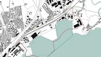 Grønn linje viser utvidelsen av planområdet for Fjordbyen Lier og Drammen.