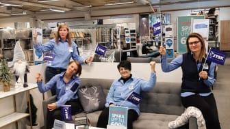 Ulrika Helander, Sandra Gidstedt, Suada Hadzimahovic och Sanela Hadzimesic kan glädjas åt att arbeta i årets JYSK-butik.