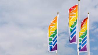 MKB Fastighets AB hissar regnbågsfärgade flaggor i sina bostadsområden med anledning av World Pride 2021.