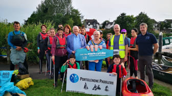 Mid and East Antrim Borough Council along with volunteers from Portglenone Paddlers collecting rubbish, plastic and debris from the River Bann on Thursday evening.