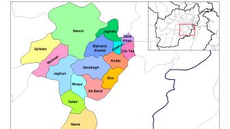 Distrikten i provinsen Ghazni, Afghanistan