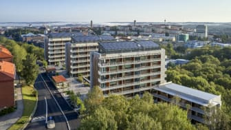 Riksbyggens Brf Viva i Göteborg har utsetts både till Årets Miljöbyggnad och Årets bästa byggnad, i Göteborg. Foto: Ulf Celander