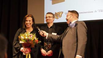 Hanna och Niklas Hermansson med Ekogalans konferencier Svante Kaijser.