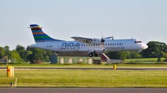 ATR inför landning på Ängelholm Helsingborg Airport