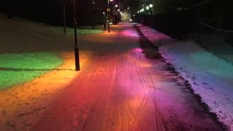Regnbågsstig ett av ljusobjekten under Stadens ljus: Sorgenfri. Foto Johan Moritz