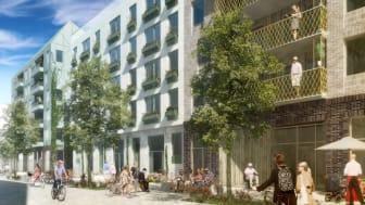 Södra Värtan, kvarter N1. Fasader mot lokalgata.