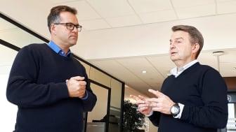 Konsernsjef Per Gunnar Borhaug (t.v.) og Tore Martin Skarpholt, leder for IT, teknologi og innovasjon i Ecura er enige om at ISO-sertifisering er et nyttig verktøy i arbeidet for økt informasjonssikkerhet.