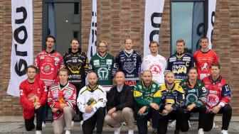 Christian Dahlborg, Elon, flankerad av spelare från HockeyAllsvenskans 14 lag
