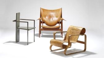 Jonas Bohlin's Concrete Chair, Finn Juhl's Chieftain Chair and Alvar Aalto's Paimio Chair.