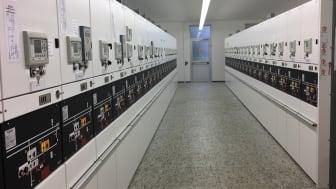 Blick in die Mittelspannungs-Schaltanlage im Umspannwerk Traunreut.