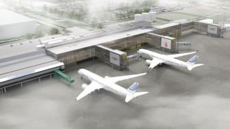 Terminalexpansion Söder, Göteborg Landvetter Airport. Illustration: Sweco.