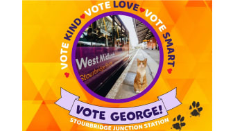"""West Midlands Railway cat George leads the charge as """"World Cup of Stations"""" kicks off"""