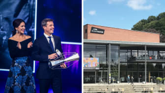 Kronprinsparret fotograferet af Ulrik Jantzen ved sidste års prisuddeling, og Jysk Musikteater i Silkeborg