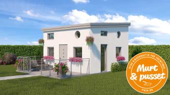 Finja lanserer 30 kvadratmeter stort murt og pusset fritidshus