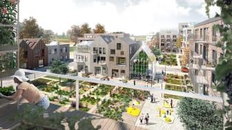 Sätra ett steg närmare byggstart. Cirka 1 100 bostäder finns i planen för första etappen för Sätra, som byggnadsnämnden väntas godkänna på torsdag. Illustration: Tovatt Architects & Planners AB och Mandaworks AB