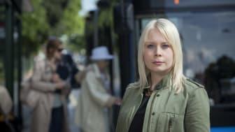 Malin Karlsson (MP), trafikpolitisk talesperson i Stockholms läns landsting. Fotograf: Fredrik Hjerling