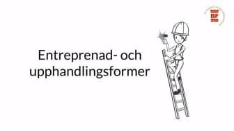 Den femte filmen ur Stockholms Byggmästareförenings serie Entreprenadjuridik för nybörjare tar upp entreprenad- och upphandlingsformer.