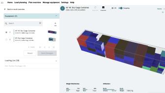 Algoritmen förses med uppgifter om godset och en 3D-modell visualiserar den mest effektiva packningen.