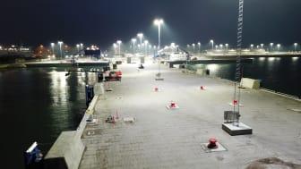 Titan belyser Färjeläge 7 och 8 i Ystad hamn - Segrande belysningslösning i miljardprojektet