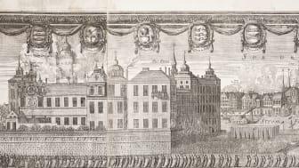 Detalj av kopparstick - Karl X Gustavs begravningsprocession