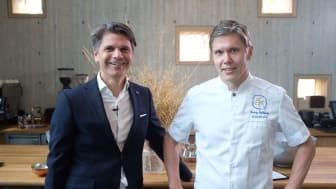 Andreas Stenberg, VD för Årets Kock och Tommy Myllymäki, juryordförande Årets Kock 2021