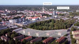 Markeringen visar Riksbyggen Brf Trollhättehus nr 5. Bild lånad av Svensk Fastighetsförmedling, Trollhättan. Foto: Sebastian Lamotte.